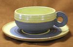 遊楽窯 陶芸作品 黄色マット釉薬 スープカップ & ソーサー (カフェオレカップ)